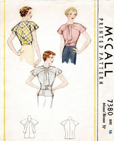 vintage sewing pattern pattern misses women's blouse dolman sleeves art deco cut Bust 32 34 36 38 reproduction vintage pattern by LadyMarlowePatterns (Etsy Shop for LadyMarloweStudios) Retro Mode, Mode Vintage, Vintage Style, Art Deco, Vintage Sewing Patterns, Clothing Patterns, Blouse Patterns, Fashion Patterns, Vintage Outfits
