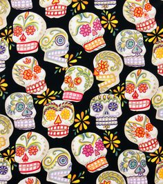 Alexander Henry Cotton Fabric-Calaveras Black/Glitter