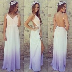 Ombre white to purple summer dress