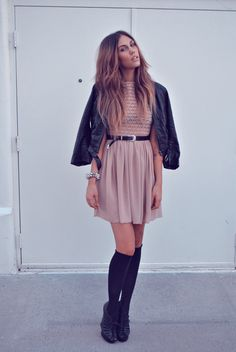 American Apparel Nude Dress. Love the soft color with an edgy leather jacket.