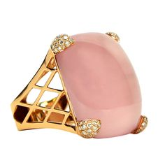 Rose Quartz Diamond Gold Dress Ring
