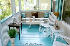 Pretty beach porch with lots of seating in smallish space from House of Turquoise: Coastal Cottage Dreams Cottage Porch, Coastal Cottage, Coastal Living, Coastal Decor, Cottage Living, Living Room, Coastal Wreath, Porch Garden, White Cottage
