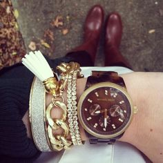 Michael Kors, tortoise shell watch, gold bracelet, gold chain bracelet, navy blazer, brown riding boots