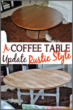Check out this easy coffee table update at Sparkles of Sunshine. Out with wicker, in with a rustic wood coffee table!
