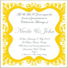 vintage yellow grey wedding invite, £1.60, #weddinginvitation
