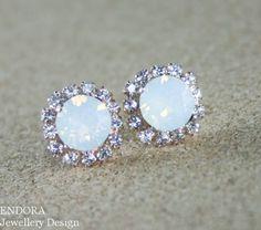 White opal earringsWhite opal crystal by EndoraJewellery on Etsy, $30.00