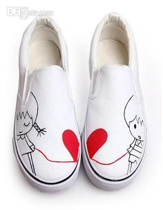White Love Line Canvas TPR Sole Womens Painted Shoes women #u6-osw, Free shipping, $20.86/Piece | DHgate Mobile
