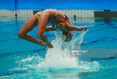 Xuechen Huang and Wenyan Sun of China compete in the Synchronised Swimming Duets…