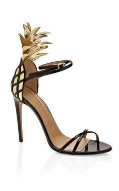 Gold And Black Pina Colada Sandal by Aquazzura Now Available on Moda Operandi