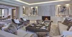 Uber luxurious formal living room at our villa project in shades of bronze, grey and cream