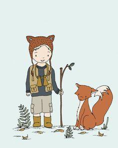 Woodland Art, Adventure Pals-- Boy Nursery Art Print, Boy and Fox, Boys Room Decor, Children Art, Kids Wall Art