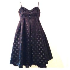 "Betsey Johnson Polkadot Cocktail Dress Empire waist. Adjustable straps. Black w/ black polka dots. Sz. 4. Length is 26"" without straps included. Black lining. Worn once. Price is firm. Betsey Johnson Dresses Prom"