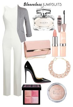 """jumpsuit"" by fashionplanet01 ❤ liked on Polyvore featuring Roland Mouret, Miss Selfridge, Christian Louboutin, New Look, DIANA BROUSSARD, Gucci, Maybelline, Givenchy and sleevelessjumpsuits"