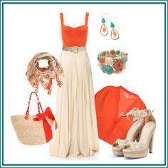 I love orange & turquoise together, and this long skirt + details throughout  the outfit are so pretty!