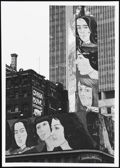 """1979: View of a portion of Alex Katz's Times Square mural of women's profiles.""(via MCNY)"