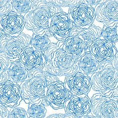 P & B Textiles House Designer - True Blue - Floral Etching in White