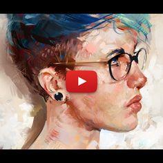 Blue Hair - Digital Portrait Time-lapse, Aaron Griffin on ArtStation at https://www.artstation.com/artwork/VNz58