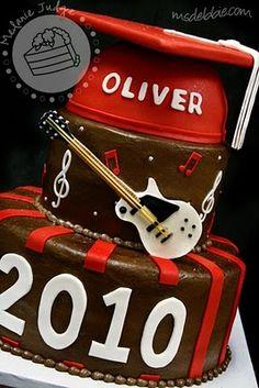 cake walk rock on guitar graduation cake