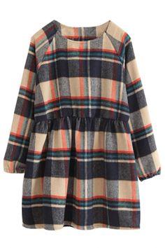 Classic Camel Navy Plaid Long-Sleeve Wool Babydoll Dress