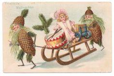 Vintage Fantasy Postcard Christmas Pine Cone Elves Doll Drum Sled 1900s  $18.00