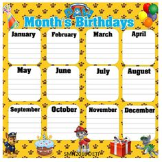 Paw Patrol Month's Birthdays (bilingual)