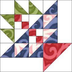 Block 6 by Piecemeal Quilts Quilting Tutorials, Quilting Projects, Quilting Designs, Barn Quilt Patterns, Pattern Blocks, Star Quilt Blocks, Flower Quilts, Basket Quilt, Miniature Quilts