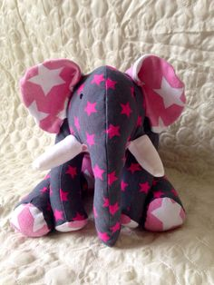 Handmade Memory Bear Keepsake - Elephant by AmisTissu on Etsy https://www.etsy.com/listing/196446802/handmade-memory-bear-keepsake-elephant