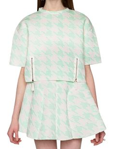 Mint Houndstooth Matching Separates - Two Piece Dresses -$46