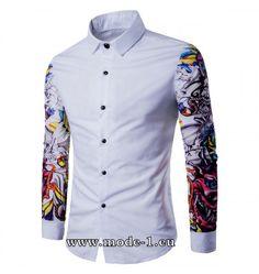 0e21f1d6c88e Weißes Herren Hemd mit Tattoo Muster Herrenmode Online, Herren Hemden, Herren  Mode, Tattoo