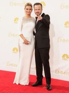 Aaron Paul and Lauren Parsekian - Emmys 2014 red carpet photos.jpg