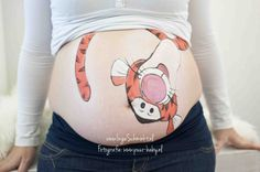 Very cute tigger pregnant belly painting.
