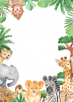 Watercolor frame with cute cartoon animals of Africa. Template for invitation, greeting card, party, baby shower, children's clothing and design. Watercolor illustration by Marina Ermakova Safari Theme Birthday, Safari Party, Animal Birthday, Happy Birthday, Baby Elephant Images, Tropical Frames, Deco Baby Shower, Deco Jungle, Baby Elefant