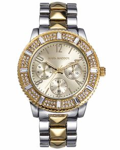 Από τον οίκο MARK MADDOX ένα ρολόι με μεταλλική κάσα και χρυσό καντράν Metal Bracelets, Michael Kors Watch, Rolex Watches, Crystals, Accessories, Chic, Products, Fashion, Silver