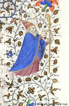 Pope wearing triple crowned tiara, raising right hand and holding crozier | Book of Hours |  France, Paris | ca. 1420-1425 | The Morgan Library & Museum