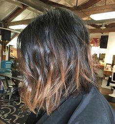 Choppy Bob Haircut + Light Brown Lowlights on Dark Hair