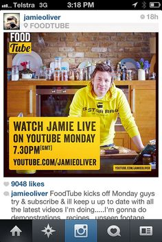 Jamie Oliver advertising his YouTube channel on Instagram. Clever. #RunwayDigital #SocialMedia
