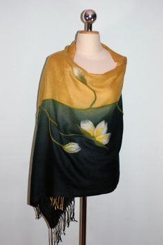 Felted Pashmina Scarf Gold and Black Pashmina by Filtil on Etsy, $53.00
