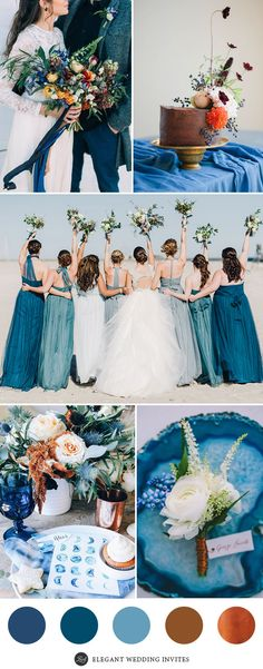 Indigo Blue and Copper Wedding Color Palette