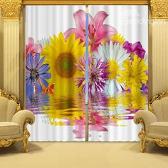 #beddinginn #reviews #beddinginnreviews #3D #curtain  Colorful Flowers in Blossom Printed 3D Curtain - beddinginn.com