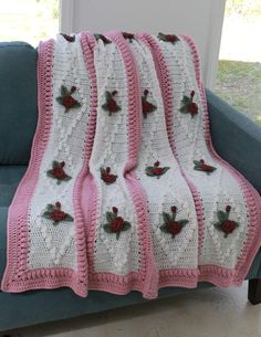 Vintage Diamond Rose Afghan Crochet Pattern-