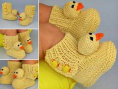 Knitted Duck Booties Pattern