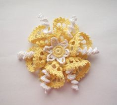 yellow brooch yellow crochet brooch yellow by SuzieSue1972 on Etsy
