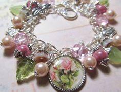Art: Tea Rose Altered Art Charm Bracelet ooak by Artist Lisa  Wiktorek