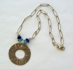 Antiqued Silver Statement Sea Glass Necklace, $145.00