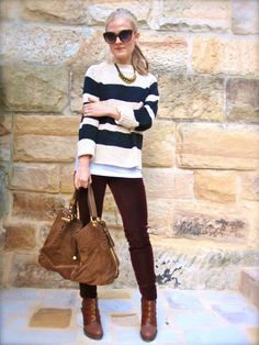 Black & khaki sweater and maroon pants