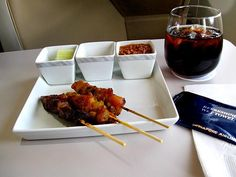 Satay on Singapore Airlines Business Class - Yummylicious