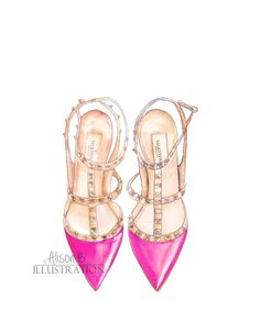 Valentino Pink Shoes Art Print Watercolor Illustration by AlisonBillustrations on Etsy