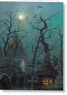 Halloween Ghost Painting by Tom Shropshire