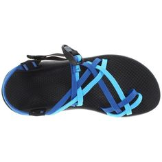 Chaco ZX/2® Yampa ($100) ❤ liked on Polyvore featuring shoes, sandals, blue, blue platform shoes, blue strappy sandals, strappy sandals, long shoes and chaco
