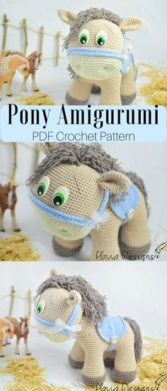 Cute pony amigurumi crochet pattern. Make your own sweet little pony stuffed toy. #pony #ad #pattern